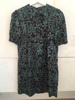 0039 Italy Lange blouse zwart bruin-cadet blauw Zijde