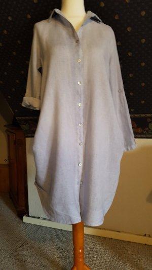 Longbluse oder Kleid aus Leinen in blassem Himmelblau 38 bis 42