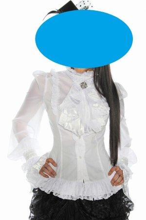 Longbluse Rüschenbluse Bluse mit Jabot Gothic in weiß Größe 40/42