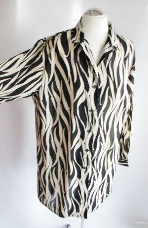 LongBluse Schwarz Ecru Größe 44 / 46 Lange Bluse Ranken Streifen Wellen Tunika Blätter Beige Zebra Tiki Transparent Langarm