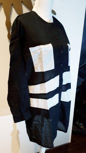 Oui Blusa de lino blanco-negro