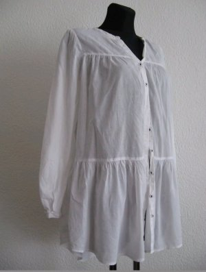 Longbluse weiss Baumwolle 38 H&M