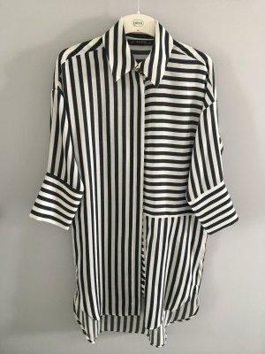 Zara Lange blouse wit-donkergroen