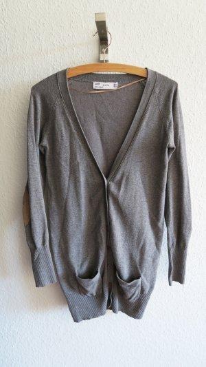 Zara Cardigan tricotés gris clair-gris coton