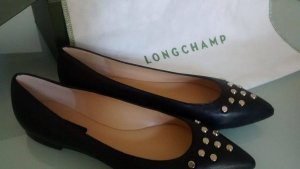 Longchamp Ballerinas Schuhe Staubbeutel Schwarz Nieten Leder 38 NEU m. kl.Fehler