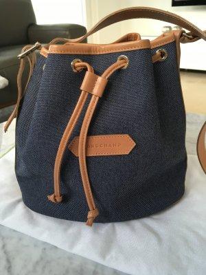 Longchamp Pouch Bag blue-brown cotton