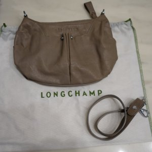 Longchamp Cuir Schultertasche Clutch Tasche Leder made in France taupe grau beige