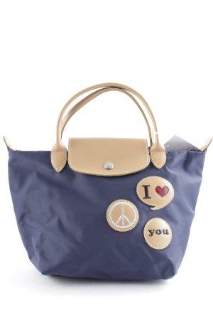 Longchamp Handtasche dunkelblau-hellbraun Street-Fashion-Look