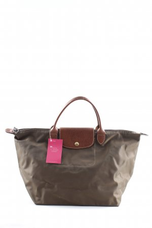 Longchamp Handtasche grüngrau-cognac Webmuster Casual-Look