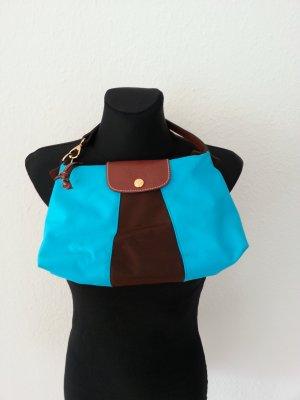 Longchamp Handtasche türkis/ dunkelbraun
