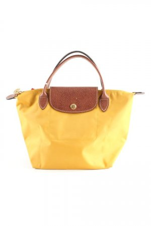 Longchamp Carry Bag dark yellow-cognac-coloured weave pattern casual look