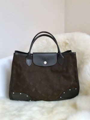 Longchamp Sac Baril brun-brun foncé coton