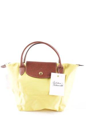 Longchamp Henkeltasche neongelb-braun Street-Fashion-Look