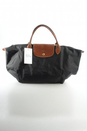 Longchamp Bolso barrel negro-marrón estilo «business»