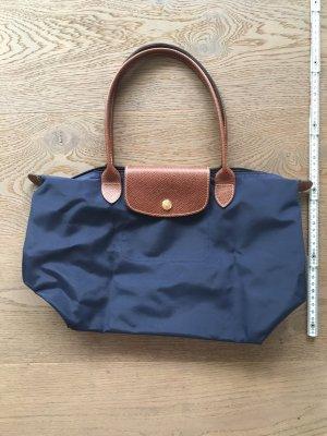 Longchamp Borsa a tracolla blu-marrone Nylon