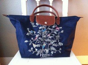 Longchamp Le Pliage Nylon Tasche M Limited Edition dunkelblau mit Vögel