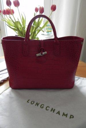 """Longchamp """"Roseau Croco Handtasche """" in einem sehr schönen eleganten Rot"""" Medium"""