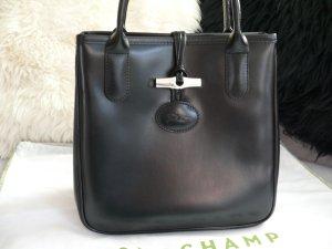 Longchamp Roseau Leder Schwarz Handtasche Staubbeutel Silberne Hardware