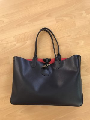 Longchamp Borsa shopper blu scuro-rosa Pelle