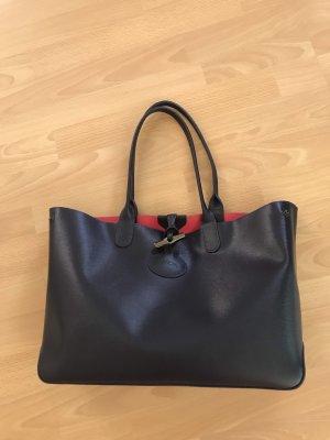 "Longchamp ""Roseau"" Shopper dunkelblau/pink, Saffiano-Leder"