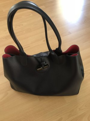 Longchamp Roseau Shopping Bag Leather Navy/Pink+ein EXTRA