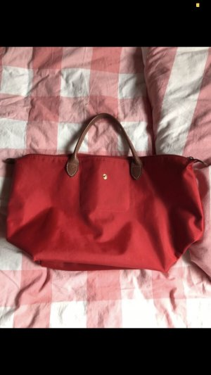 Longchamp Canvas Bag bronze-colored-red