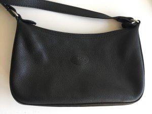 Longchamp Umhängetasche - genarbtes Leder - schwarz