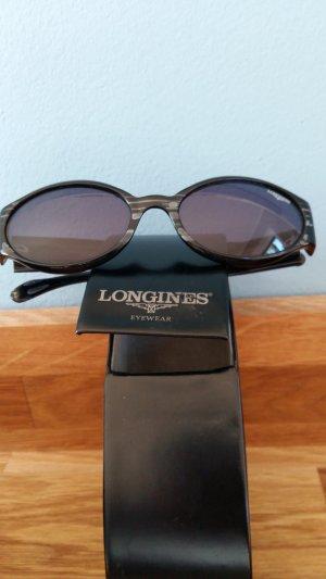 Longines Ovale zonnebril zwart-lichtgrijs kunststof