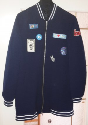 Longjacke, Collegejacke lang, M blau mit Patches