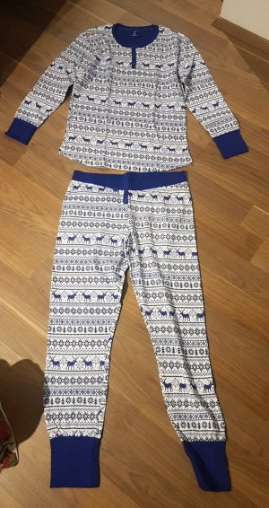 Pyjama blanc-bleu