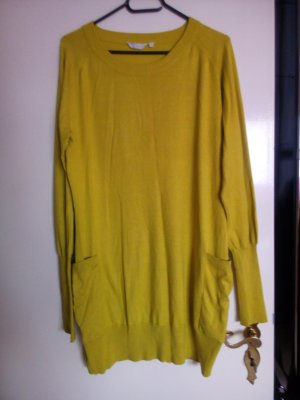 Long Sweater olive green-lime yellow