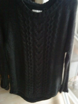 Longpullover anthrazit Zopfmuster mit Wolle36/38
