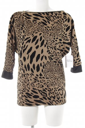 Long Sweater beige-black leopard pattern animal print