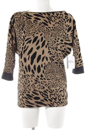 Pull long beige-noir motif léopard imprimé animal
