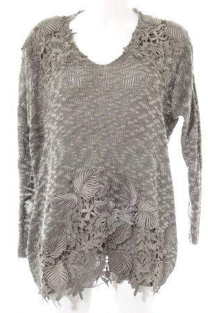 Long Sweater grey brown-light grey mixed pattern fluffy