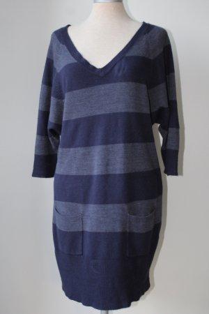 George. Gebreide jurk staalblauw-donkerblauw