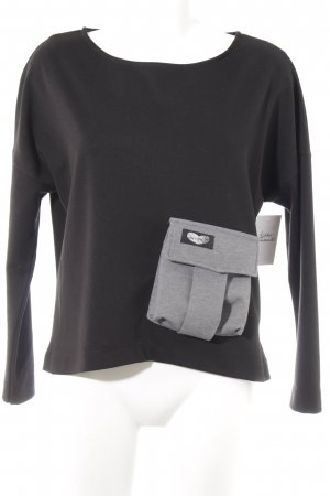 Jersey largo negro-gris claro look casual