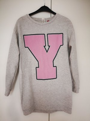 H&M Maglione lungo grigio chiaro-rosa chiaro