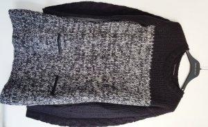 Longpullover von Zara, meliert mit Leder-Applikationen, Gr. S