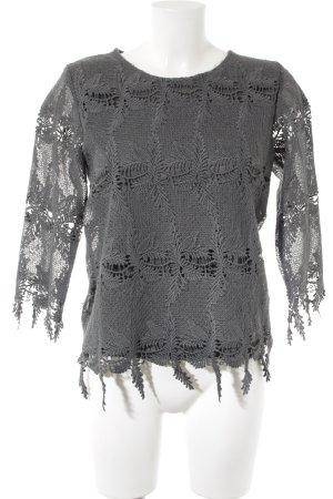 Long Shirt anthracite floral pattern elegant