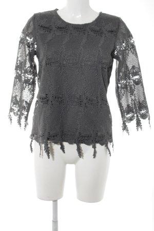 Camisa larga gris antracita estampado floral elegante