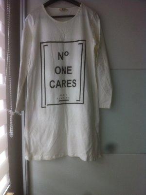 Longshirt Damen und Creme/Weis mit Schriftzug
