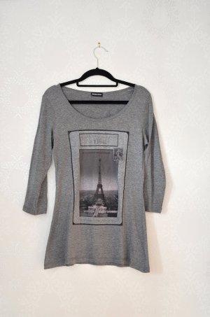 Longshirt Dreiviertelarm graumeliert Paris Eiffelturm Parisienne Chic