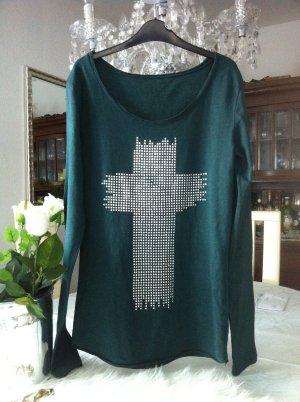 Longshirt / dunkelgrün / Pailletten silber / Gr. 36/38