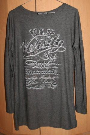 Blind Date Camisa larga gris tejido mezclado