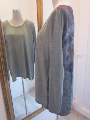 Camisa larga caqui-salmón Fibra sintética