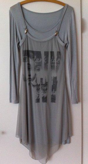 Longshirt, hellgrau, 2-teilig