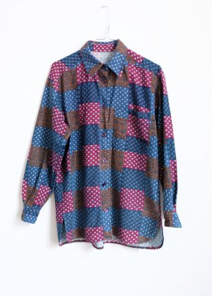 longshirt hemd shirtdress S graphisches muster baumwolle