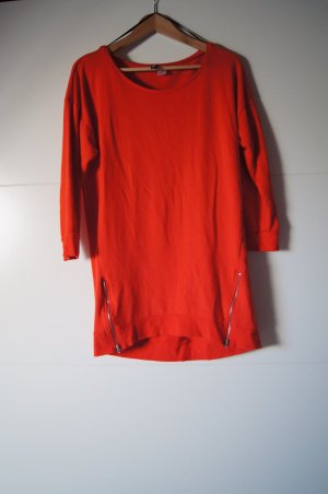 Longshirt in feurigem Orange, Longpullover, Pullikleid, Sweatkleid, Sweatpulli