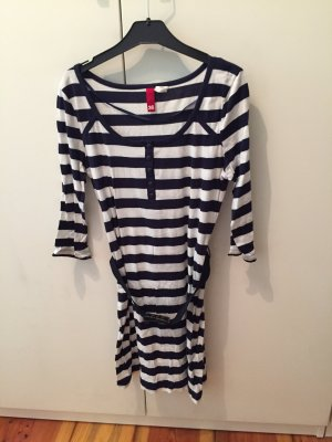 Longshirt/Kleid im Marinelook mit Gürtel - NEU